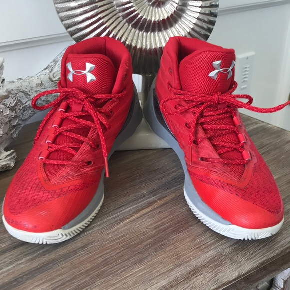 906621dbb Under Armour Shoes | Sz 6 Youth Ua Red Gray Stephen Curry High Tops ...